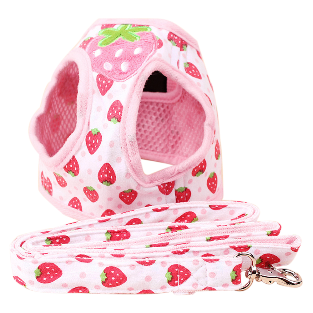 Cute Strawberry Adjustable Comfort Soft Dog Harness Pet Vest Rope Dog Chest Strap Leash Set Collar Leads HarnessProtection Set