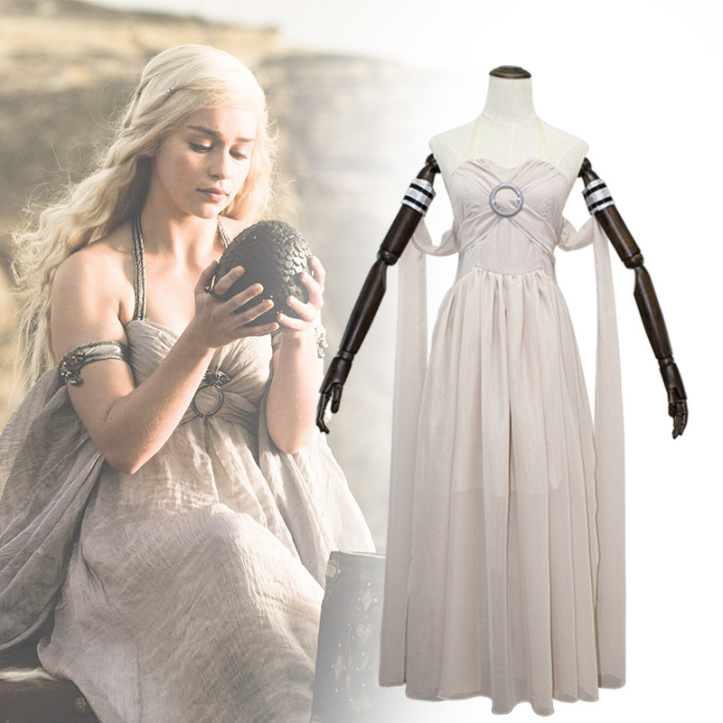 Hot Movie Game of Thrones A Song of Ice and Fire Cosplay Costume Daenerys Targaryen Beautiful Derss Skirt Adult Full Dress