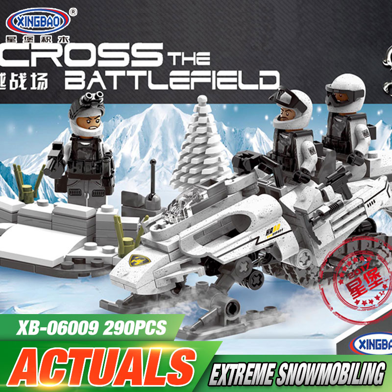 XINGBAO 06009 Genuine 290PCS Military Series The Extreme Snowmobiling Set Building Blocks Bricks Toys As Funny Christmas Gifts 8 in 1 military ship building blocks toys for boys
