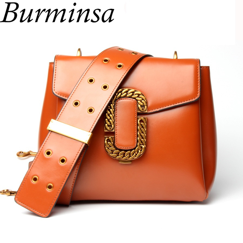 Burminsa Wide Strap Genuine Leather Crossbody Bags Famous Brand Designer Handbags High Quality Messenger Shoulder Bags For Women chispaulo famous brands designer lady real genuine leather handbags high quality woman shoulder crossbody messenger evening bags
