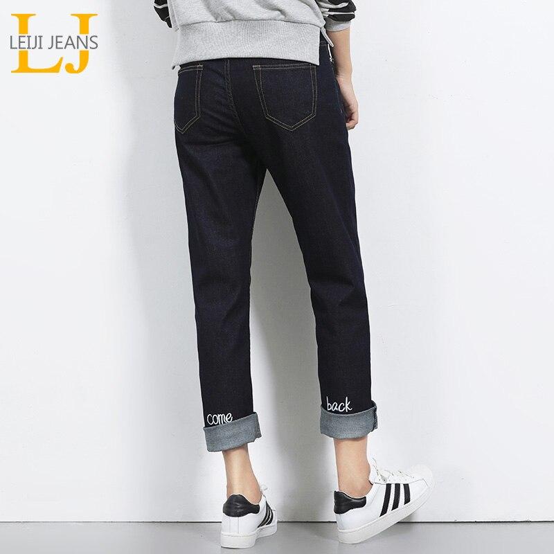 LEIJIJEANS Herbst Plus Size Solid Letter Stickerei Mitte Taille - Damenbekleidung - Foto 1