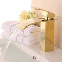 Luxury Bathroom Sink Mixer Faucet Golden Waterfall Spout Bathroom Vanity Sink Hot And Cold Water Taps