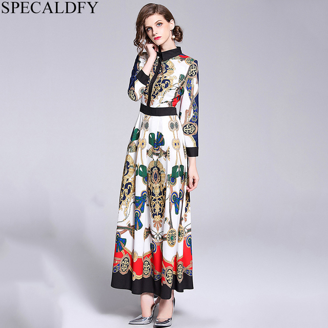 8d47b8ce44c 2019 High Quality Designer Dresses For Woman Print Luxury Brand Maxi Dress  Long Casual Party Dresses Robe Femme Habille