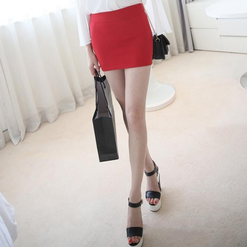 New Sexy A Line Female Mini Skirt Seamless Stretch Tight Short Fitted Bodycon Clubwear Solid Color Lady Women Clothing Accessory