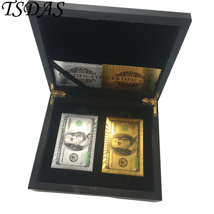 FREE SHIPPING 2pcs (Silver & Gold) Colored 100 Dollar Custom Plastic Playing Cards + 1 pc Black Wooden Case
