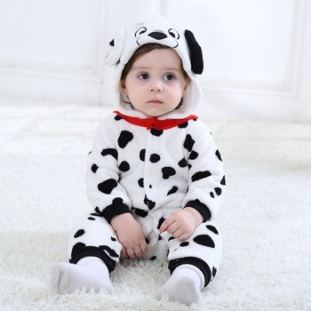 Baby Boys Girls Onesie Dalmatians Spotty Dog Cosplay Costume Flannel Warm Black White Cute Animal Kigurumi Kids Jumpsuit Pajama