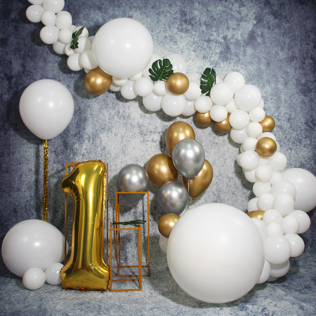 Black Gold Balloon Chain Baby 1 Year Old Banquet Arrangement Package Children Birthday Party Decoration Supplies