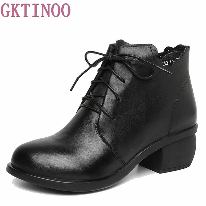 Women Ankle Boots Genuine Full Grain Leather Lace Up High Heel Round Toe Supper Quality Woman New Fashion Shoes T6471 high quality full grain leather and pu mixed colors boots size 40 41 42 43 44 zipper design lace up decoration round toe boots