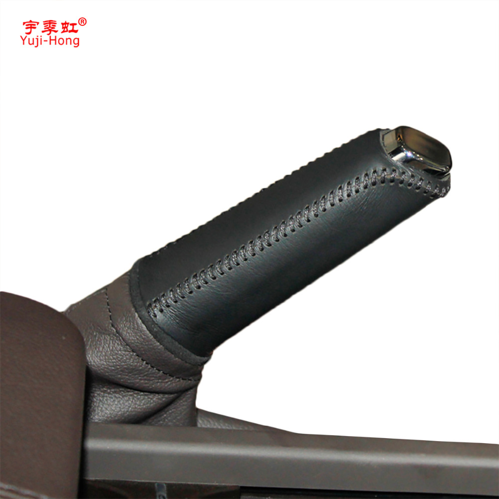 Yuji-Hong Car Handbrake Covers Case For Buick Regal 2014 Genuine Leather Auto Handbrake Grips Lever Sleeve Car-styling Black