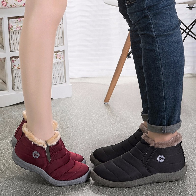 Women Snow Boots Winter Warm Shoes Waterproof Ankle Boots Short Plush Female Casual Shoes Flat Slip On Ladies Snow Boots ABT1043 wide calf designer slip on trend short harajuku shoes japanese flat women boots winter 2017 ankle autumn black lace up female