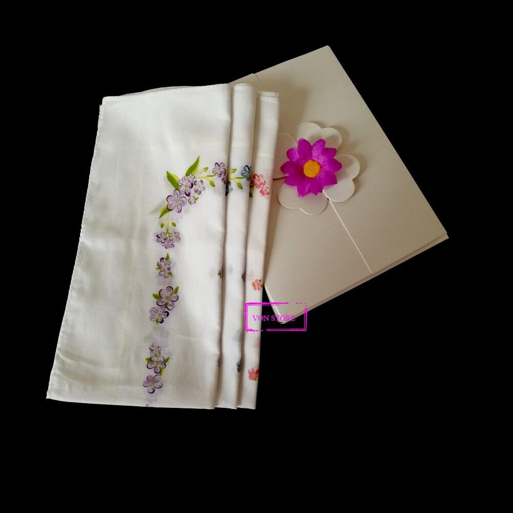 3PCS/Lot Women Sport Sweat 100% Cotton Japanese Red Blue Purple Violet Sakura Flower White Long Handkerchief Towel With Gift Box