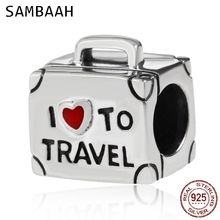 Sambaah I Love to Travel Charm 925 Antique Sterling Silver Suitcase Beads fit Original Women Pandora Bracelet SS3303