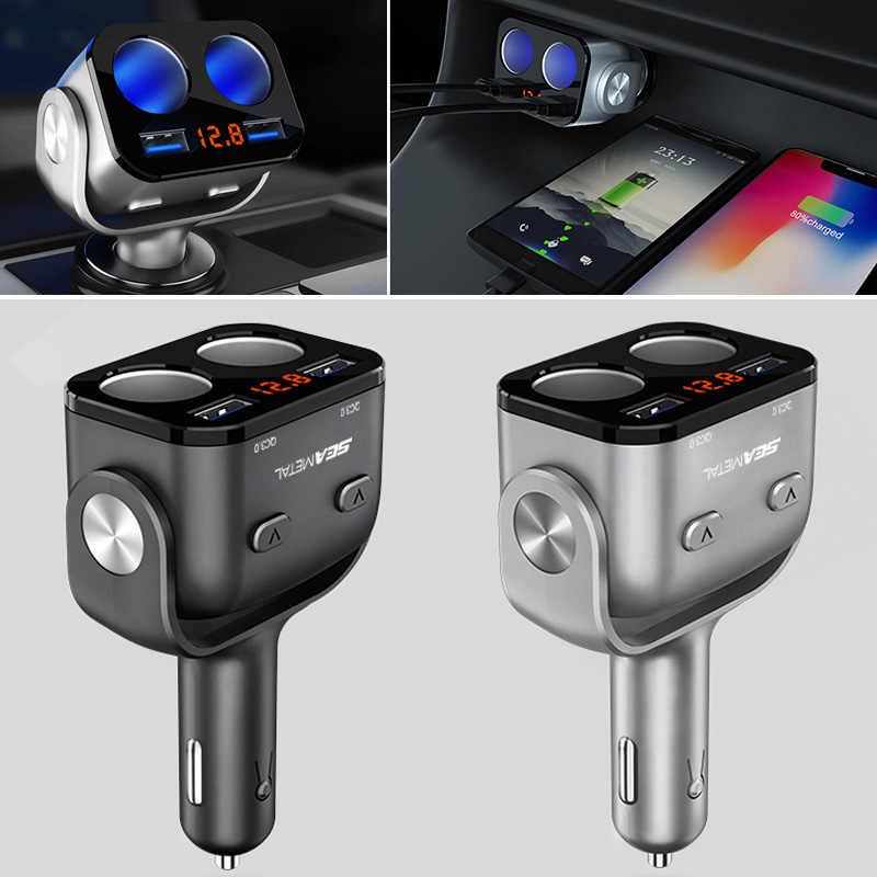 Car Cigarette Lighter Socket Splitter Charge Dual QC3.0 USB Quick Charger 12V LED Cigarette Lighter Sockets Power Adapter Plug