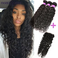 Best Water Wave Virgin Brazilian Hair With Closure Brazillian Human Hair Bundles With Lace Closures Water Wave Curly Weave 3pcs