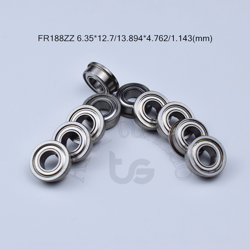 FR188ZZ 6.35*12.7*13.894*4.762*1.143(mm) 10pieces R188 Flange Bearing Metal Sealed Free Shipping ABEC-5 Chrome Steel Bearings
