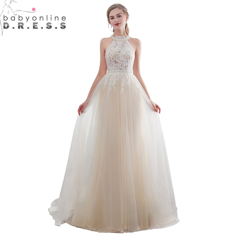 Charming Bohemian Lace Waist Pearls   Evening     Dress   Sexy Illusion Button Back Tulle   Evening   Gown Robe De Soiree