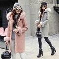 Moda inverno jaqueta de algodão das mulheres novas de Inverno casaco com capuz de couro PU imitação lã de carneiro manguito gola do casaco de lã casacos
