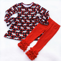 Hot Selling Kids Christmas Winter Boutique Clothing Set Baby Girl Plaid Reindeer Pattern Outfits Wholesale Red Cotton Ruffle Set