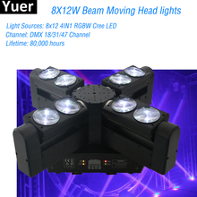 LED Beam 8x12W RGBW 4IN1 Moving Head Lighting LED beam Stage Effect Light LED Party Laser Disoc DJ Beam Moving Head Lights 6pcs lot newest adj light 9 heads led spider moving head beam light usa full color cree led moving head disco dj effect lighting
