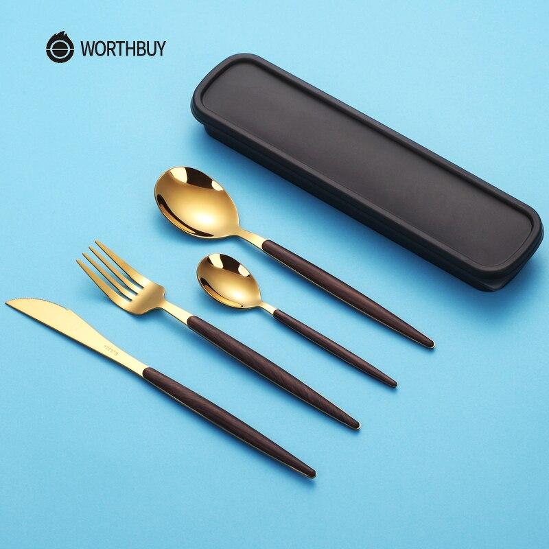 WORTHBUY Tragbare Gold Besteck Set 304 Edelstahl Geschirr Mit Holzgriff Für Kinder Abendessen Reise Geschirr Set