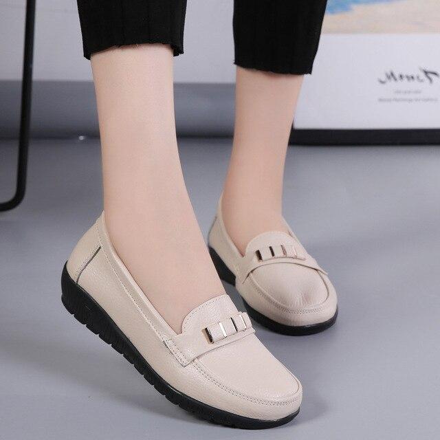 d43275e81d ZZPOHE Mulheres Moda em Couro Genuíno Casuais Plana Sapatos Calçados Sapatos  de Condução Suave das Mulheres