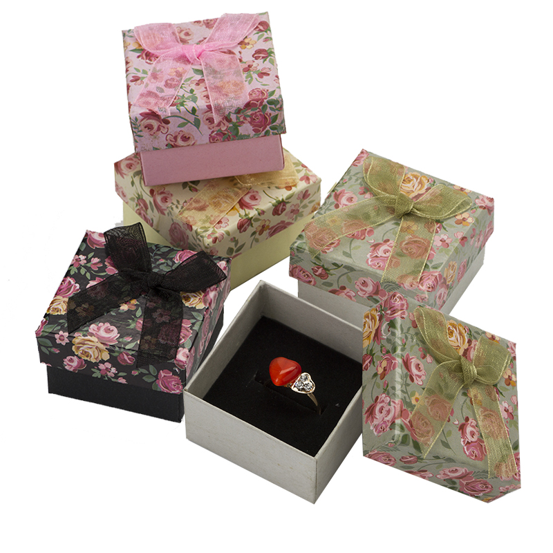 5*5*3cm Jewelry Box Fashion Flower Ring/Earrings/Pendant package Gift Boxes Mixed Paper Jewelery Display Packaging 48pcs/lot