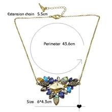 Fashion Colorful Rhinestone Necklaces Pendants Boho Flower Maxi Statement Necklace Antique Gold Plated Vintage Pendant Necklace