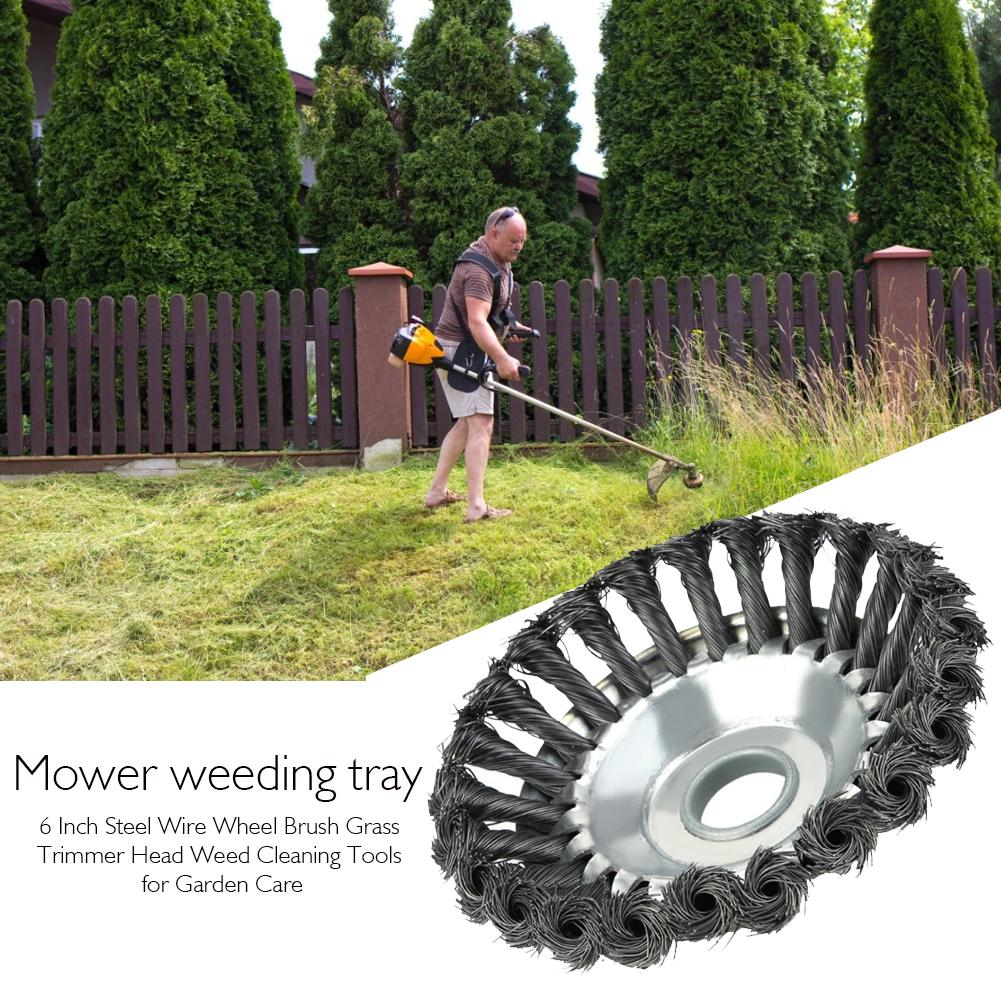 6 Inch Steel Wire Wheel Brush Grass Trimmer Head Lawn Mower Head Weed Cleaning Tools For Garden Lawn