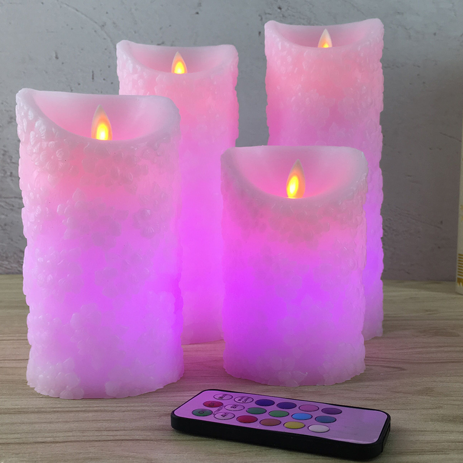 Lovely wireless remote led candle led night light,Made by real wax,Unique pink cherry floral embossed finishing, home decoration dfl 3x6 inch flameless real wax pillar electronic led candle with timer with embossed gold pearl