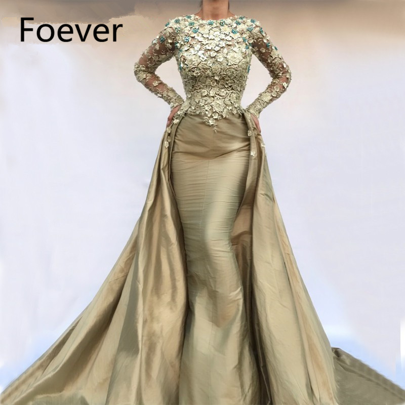Abendkleider Mermaid Dubai Turkish Abaya Formal Evening Dresses With Long Sleeves Robe De Soiree Vintage Taffeta Party Gown