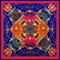 100% Sarja De Seda Lenço Quadrado para As Mulheres Lenço Da Cópia Da Flor Do Vintage Marca de Luxo Designer de Lenços Das Senhoras do Sexo Feminino Hijab 100*100 cm
