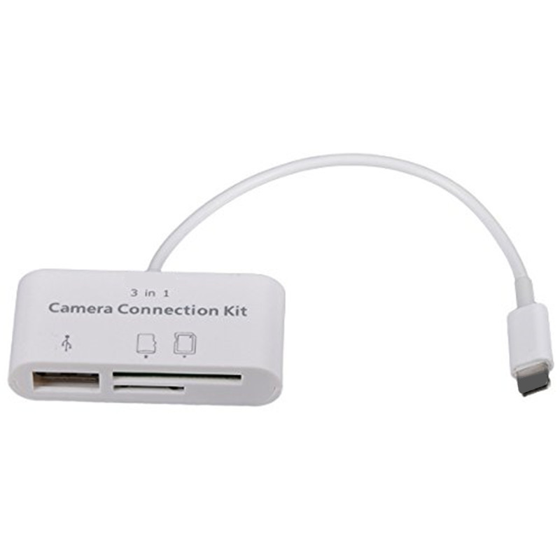 NEW UPDATED MODEL 3 in 1 USB SD TF Card Reader Adapter Cable Camera Connection Kit 3 Port Card Reader for iPad 4/Mini iphone