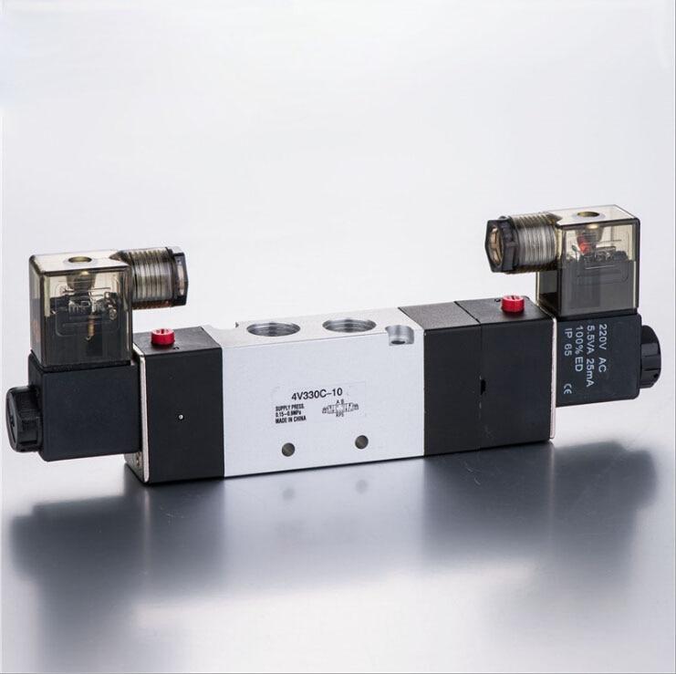 Pneumatic Airtac PT3/8 4V330C-10  Double Coil Electromagnetic Solenoid Valve 12v 24v dc ac 110v 220v sy7220 5lze 02 smc solenoid valve electromagnetic valve pneumatic component air tools sy7000 series