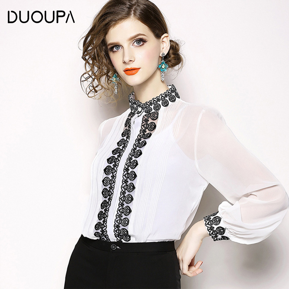 DUOUPA 2019New Women Blouses Slim Bottoming Long-sleeved White Shirt Lace Hook Flower Hollow Plus Size S-5XL
