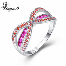 lingmei 2017 New Design Fashion Elegant Red Cubic Zirconia Silver Ring Size 6 7 8 9 Beautiful Women Anniversary Jewelry Gift