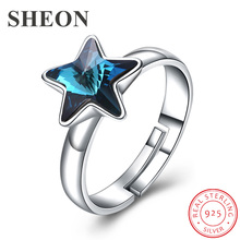 SHEON Authentic 925 Sterling Silver Blue Star Crystal Adjustable Finger Rings for Women Fine Sterling Silver Wedding Jewelry top quality princess kate blue gem created blue crystal 925 sterling silver wedding finger crystal ring brand jewelry for women