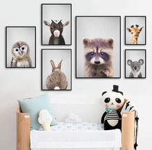 Giraffe Rabbit Owl Sheep Raccoon Nursery Nordic Posters And Prints Wall Art Canvas Painting Pictures Baby Kids Room Decor