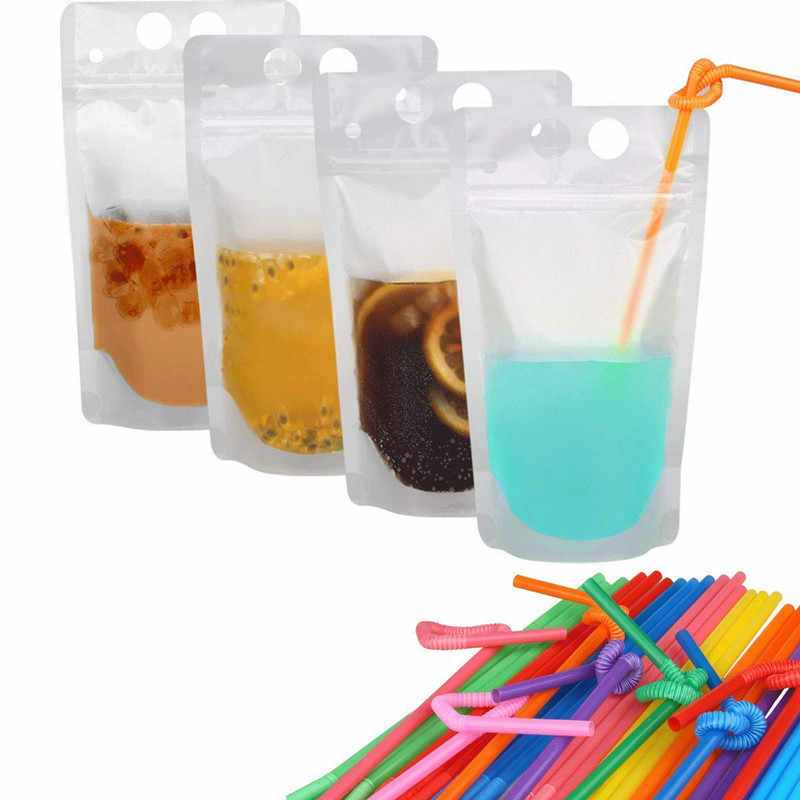 MOM'S HAND 50pcs/set Disposable Drink Container Set Zipper Plastic Pouches Drink Bags