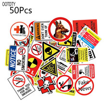 50PCS Waterproof Sunscreen PVC Warning Banning Decal Pasters Funny Removable Car Computer Suitcase Graffiti Stickers 56pcs waterproof sunscreen pvc retro decal labels funny removable car fridge luggage suitcase travel graffiti stickers