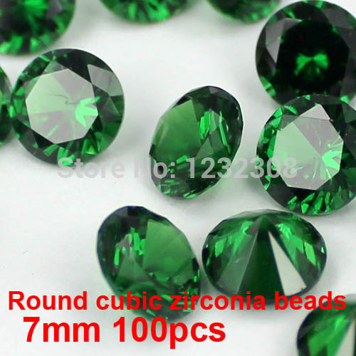 100pcs 7mm Crystal Material Brilliant Cuts AAA Round Cubic Zirconia Beads Pointback Stones Supplies For Jewelry DIY Decorations