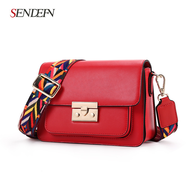 spot hot Korean Messenger bag ladies casual bags leather shoulder bag female wide strap small square package female 2018 new female korean version of the bag with a small square package side buckle shoulder messenger bag packet tide