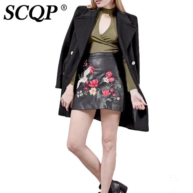 SCQP Floral Bordado Faux Leather Mujer Cremalleras Bird Mini Faldas Una Línea de Falda Negro Señoras de las mujeres del Otoño Faldas Para Mujer 2016