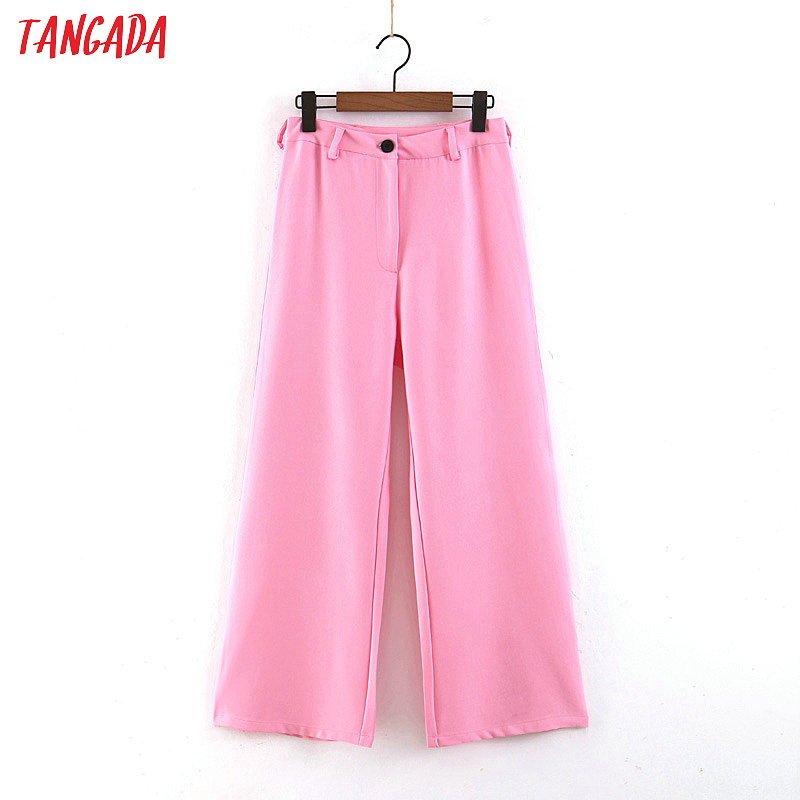 Tangada women pink   wide     leg     pants   buttons 2019 new korean fashion office ladies loose suit   pants   female casual trousers SL269