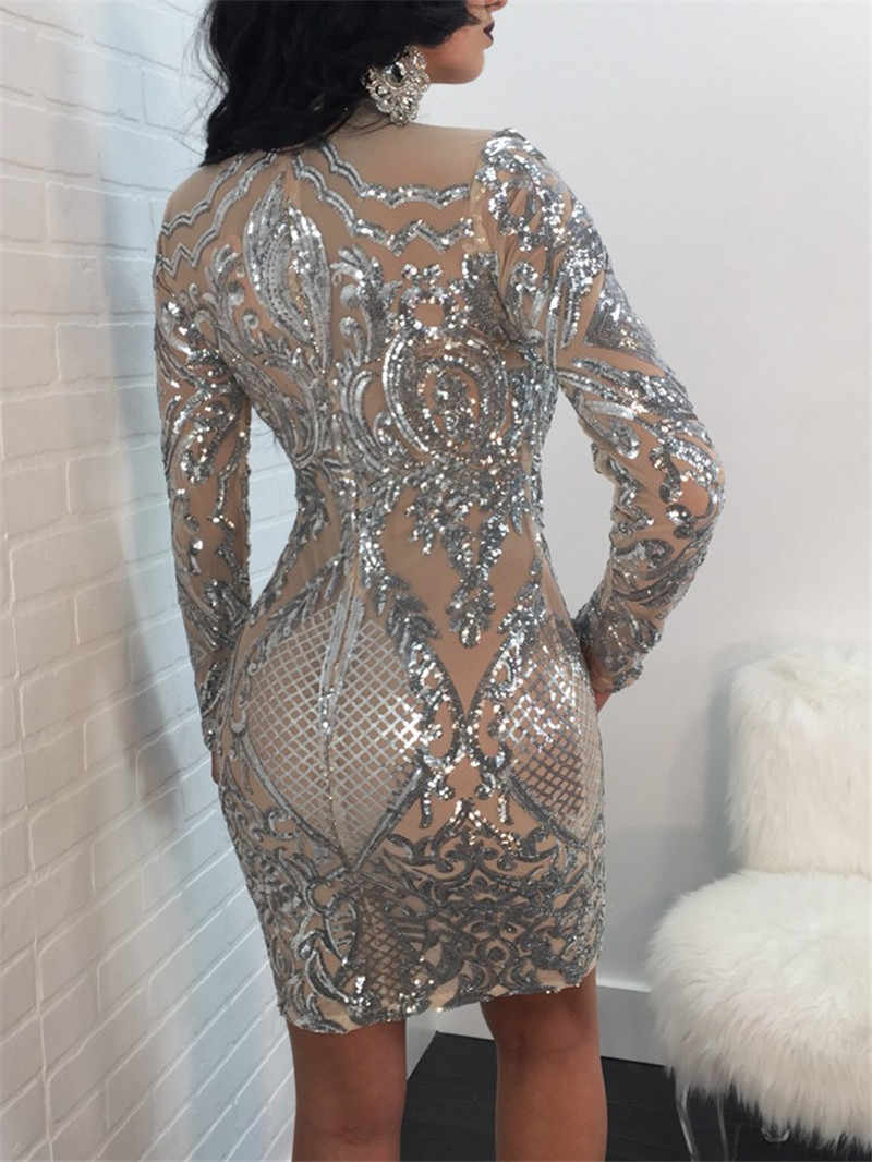 edb658108a0 ... Sexy Bodycon Embroidery Sequin Club Party Mini Dress Women Elegant Glitter  Sequin Nude Mesh Long Sleeves ...