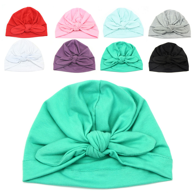 Top Quality Cute Newborn Baby Toddler Kids Boy Girl Bowknot Cute Soft Cotton Beanie Hat Warm Hat Lovely