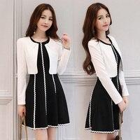 Fashion Woman Dress Suit 2017 Autumn Short Jacket Min Dress Femme Two Piece Set Black White