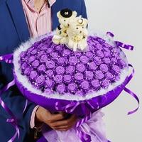 Diy simulatie boeket van 99 rozen origami bloem schuim spons materiaal pakket papier bloemen valentijnsdag gift sets