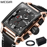 MEGIR Luxury Brand 2018 New Design Square Rose Gold Watches Men Quartz Leather Band Casual Sport Wristwatch relogio masculino