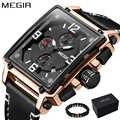 MEGIR Luxury ยี่ห้อ 2018 ใหม่ออกแบบสแควร์ Rose Gold นาฬิกาควอตซ์ผู้ชายหนัง Casual กีฬานาฬิกาข้อมือ relogio masculino