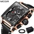 MEGIR Marca De Luxo 2018 Novo Design Quadrado Ouro Rosa Relógios Homens Relógios de Quartzo Pulseira de Couro Casual Esporte relógio de Pulso relogio masculino